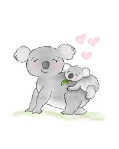 koalas  para baby shower | Koala Nursery Art - Baby Room Prints - Koala Baby Shower - Koala Bear ...