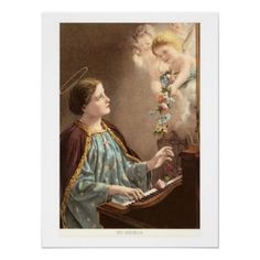 Cecelia at Piano with Putti Poster created by OldPosters. Vintage Music, Vintage Decor, Custom Posters, Vintage Posters, St Cecelia, Custom Framing, Piano, Vibrant, Creative
