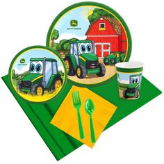 Items similar to Boys Tractor Birthday Party Tableware Set 16 count; Tractor Party decorations on Etsy Tea Party Birthday, 1st Birthday Girls, December Birthday, Birthday Ideas, Party Kit, Party Packs, Party Ideas, Tractor Birthday, Party Tableware