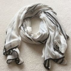 Ann Taylor Scarf White with black Ann Taylor Accessories Scarves & Wraps