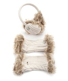 Cream (Cream) Bench Cream Cable Knit Fur Ear Muff and Arm Warmer Set | 268251613 | New Look