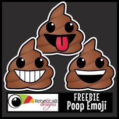 FREE Poop Emoji Clip Art.  Contains 9 images, with and without sticker edge plus black and white of each style.  Images are approx. 3x3 inches in size.  Poop Emoji Clip Art by RebeccaB Designs.FREE add-on for the following sets:{Emoji Clip Art Sticker Style}{Emoji Clip Art}Copyright  2016 RebeccaB DesignsMy graphic designs are produced at 300ppi(on screen) and in .JPEG or .PNG format unless otherwise stated.