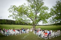 Outdoor wedding ceremony. Amber + Michael's wedding at Lenora's Legacy. Image credit: Camilla Calnan Photography.