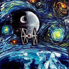Star Wars Starry Night Mashup Print
