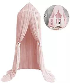 Mosquito Net Canopy, High Density Polyester Grenadine Dome Princess Dreamy Bed Tents for Childrens Reading Play Indoor Games House Kids Room Decorate (Pink)