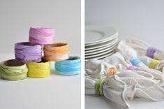 Cardboard Tube Napkin Rings using ribbons