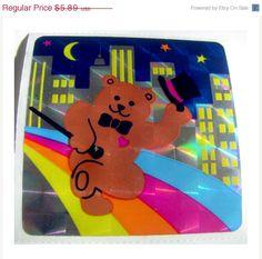 ON SALE Vintage Sandylion Dancing Bear Prism Sticker 80's Prismatic