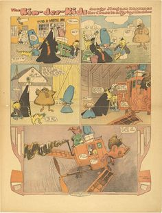 Lyonel Feininger. The Kin-der-Kids: Aunty Jimjam Resumes her Chase in a Flying Machine from The Chicago Sunday Tribune. (November 4) 1906
