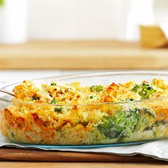 """Broccoli Tuna Casserole Recipe -When I was in the Navy, a co-worker's wife shared this recipe with me. I've tweaked it over the years, but it still brings back memories of my """"family"""" away from home. —Yvonne Cook, Haskins, Ohio"""