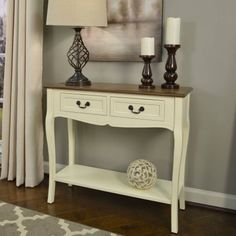 Better Homes and Gardens Two-Tone 2-Drawer Console Table, Multiple Colors, White