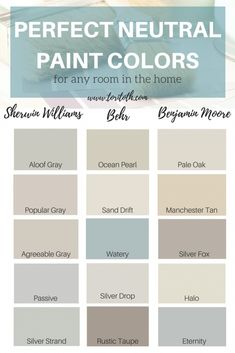 Neutral paint colors are a fool-proof way to add color and dimension to a room without over powering the space. Neutrals will never go out of style, paint colors Neutral Paint Colors, Interior Paint Colors, Bathroom Paint Colors, Sand Color Paint, Interior Design, Interior Paint Palettes, Neutral Wall Paint, Neutral Bathroom Colors, Tan Paint