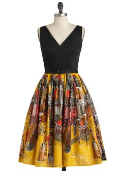 Can't Hardly Kate Dress - Long, Cotton, Yellow, Brown, Black, Print, Belted, Party, Travel, Fit & Flare, Sleeveless