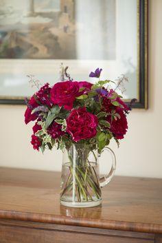 Kate Cottage Garden arrangement in a glass jug #Cutflowers #CutRoses #DavidAustin