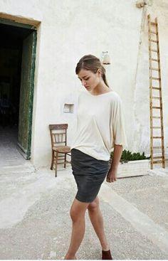 pencil skirt with drape shirt