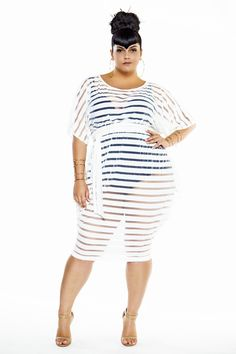 803a921a7 Striped Sheer Slouch Poolside Dress