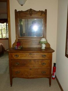 Antique Dresser with Mirror - would love to have something like this. Antique Dresser With Mirror, Antique Dressers, Oak Dresser, Antique Furniture, Antiques, Home Decor, Dressers, Antiquities, Antique