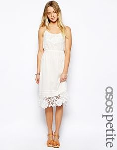 Asos Petite PETITE Exclusive Crochet Panel Strappy Back Midi Dress - White on shopstyle.co.uk