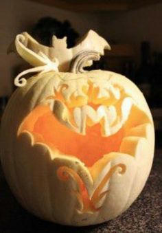Elegant hand-carved bat silhouette white PUMPKIN with scrolls and elements. AMAZING - halloween - jack-o'-lantern Halloween Jack, Holidays Halloween, Halloween Pumpkins, Halloween Crafts, Happy Halloween, Halloween Decorations, Halloween Stuff, Vintage Halloween, Pretty Halloween