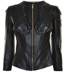 Versace Collection Laser Cut Leather Jacket (10 055 SEK) ❤ liked on Polyvore featuring outerwear, jackets, black, genuine leather jackets, leather jackets, long sleeve jacket, floral leather jacket and 100 leather jacket