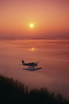 Floatplane Flying Sunset Matanuska | Photo by Jeff Schultz with Pin-It-Button on FineArtAmerica