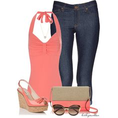 """Cute in Coral"" by bitbyacullen on Polyvore"