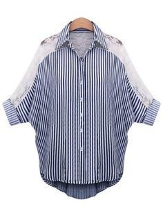 Buy Plus Size Stripe Lace Patchwork Bat Sleeve Women Blouse online with cheap prices and discover fashion Women,Plus Size,Blouses & Shirts at Shechoic.com.
