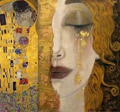 For clarity, this painting is often attributed to Klimt, but was not painted by him. This painting, 'Freya's Tears' was painted by French artist Anne-Marie Zilberman in the style of Klimt. Gustav Klimt, Art Klimt, Art And Illustration, Art Amour, Street Art, Art Design, Interior Design, Art Plastique, Love Art