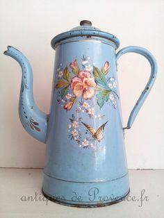 Superbe cafetiére émaillée ancien fleurie antiqu french enamel collection oiseau