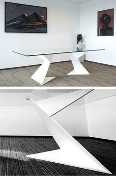 #Glass and steel #table / writing desk ORIGAMI VICTORY GLASS by Fireart