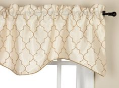 Amazon.com - Stylemaster Hudson 52 by 17-Inch Embroidered Lined Valance with Cording, Vanilla