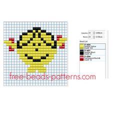 Little Miss Sunshine free Pyssla Hama Beads pattern for children 24 x 24