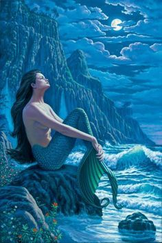 'Serenity' Mermaid art by Wil Cormier Fantasy Creatures, Mythical Creatures, Sea Creatures, Siren Mermaid, Mermaid Fairy, Manga Mermaid, Tattoo Mermaid, Fantasy Mermaids, Mermaids And Mermen