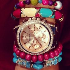 pink bracelets, watch bracelet, golden watch, turquoise accessories ... arm candy!
