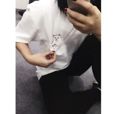 Women T Shirt Summer Style T-shirt Print Middle Finger Pocket Cat Harajuku  O- d50aa9280795a
