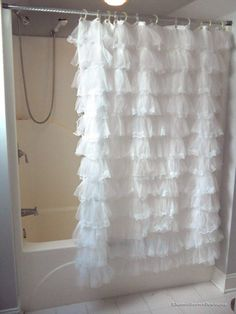 White Lace Thick Ruffled Shower Curtain , Country Chic