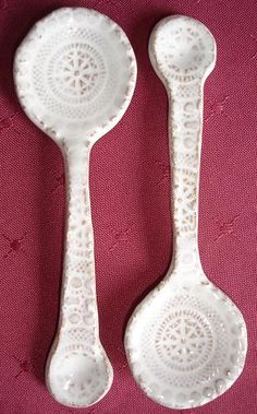 spoons. She did by rolling and manipulating. I bookmarked one where you make a mold. Those may turn out better. Once the mold is made its easy.