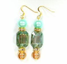 Mint and Gold Crystal Faceted Drop Earrings by RandRsWristCandy