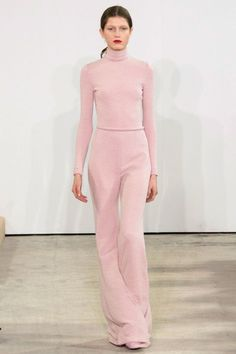 A blush turtleneck and matching flared trousers was young, pretty and ready for a young thing to step out in—a front row of girls like Olivia Palermo and Alexa Chung provide just a couple of options. —Kerry Pieri