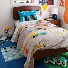 This construction sheet set is ready to lay the foundation for a good night's sleep. That's because it's designed to tackle even the toughest of bedtime jobs. Cool Kids Bedrooms, Boys Bedroom Decor, Bedroom Ideas, Boy Bedrooms, Kid Rooms, Nursery Decor, Boy Toddler Bedroom, Boy Room, Construction Bedroom