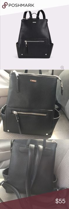 """Aldo backpack EUC Aldo black backpack. Faux leather. Hardware is silver.  Top zipper closure. Pockets on each end. Interior zipper pocket and 3 additional pockets. Front zip exterior pocket. Expands when unsnapped.  14.6"""" W x 15.4"""" H x 5.9"""". This bag is adorable! Bags Backpacks"""