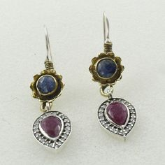SAPPHIRE, RUBY AGATE & CUBIC ZIRCONIA STONE 925 STERLING SILVER EARRINGS #SilvexImagesIndiaPvtLtd #DropDangle