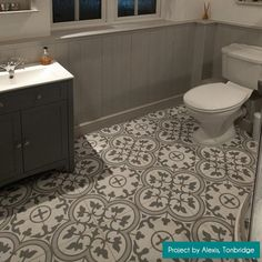 These charming ceramic Ledbury Slate Grey Pattern Tiles are ideal for creating a vintage encaustic styled statement floor or feature wall in an interior space. Grey Slate Floor Tiles, Grey Bathroom Tiles, Slate Flooring, Bathroom Flooring, Attic Bathroom, Bathroom Interior, Small Bathroom, Bathroom Ideas, Bathrooms