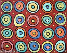 Color Rounds 10x8 Circle CANVAS PAINTING FOLK ART Abstract ORIGINAL Karla Gerard