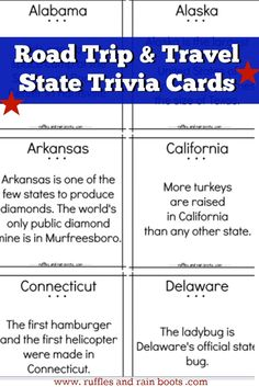 trivia printable state road trip fun facts game travel games food questions read