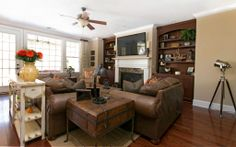 Warm, neutral tones in a traditional living room.