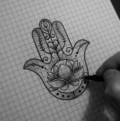 Lotus Hamsa tattoo