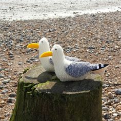Little knitted seagulls enjoying the beach! These guys are knitted from my seagull knitting pattern. It also includes instructions for wire legs, but as you can see, they look pretty cute without them.