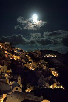 Moonlit Santorini, Greece