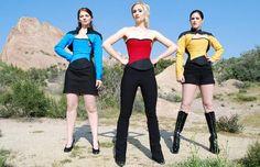 Skin-tight, push-up bustiers modeled on the Star Trek uniform of the Starship Enterprise from etsy seller Evening Arwen