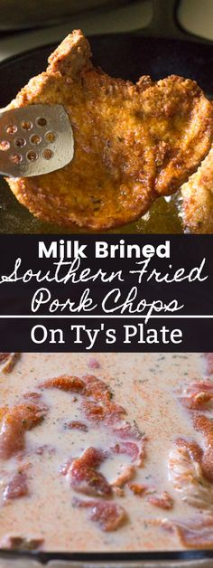 These milk brined southern fried pork chops are extra tender and so full of flavor with the perfect amount of gravy sustaining crispiness. via southern food Milk Brined Southern Fried Pork Chops Healthy Recipes, Mexican Food Recipes, Cooking Recipes, Healthy Food, Delicious Recipes, Dinner Recipes, Dinner Dishes, Grilling Recipes, Food Network Recipes